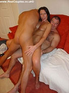 Shaven housewife enjoys her first threesome
