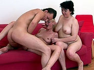 Fat mature sex teacher takes big cock in the ass after sucking it together with nubile blonde