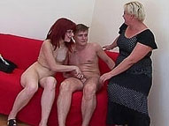 Mature fatty teaches nubile chick cockriding and gets fucked to orgasm by her horny boyfriend